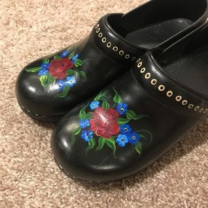 Dansko hand painted black clogs
